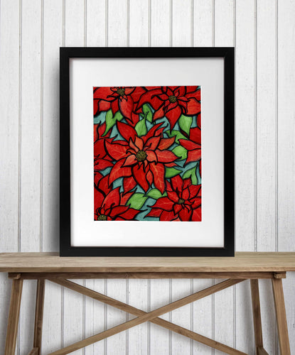 Poinsettia - Holiday Floral Watercolor Painting - Art Print
