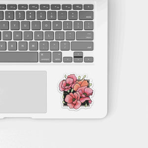Poppies - Floral Inspired Watercolor - Die Cut Vinyl Sticker
