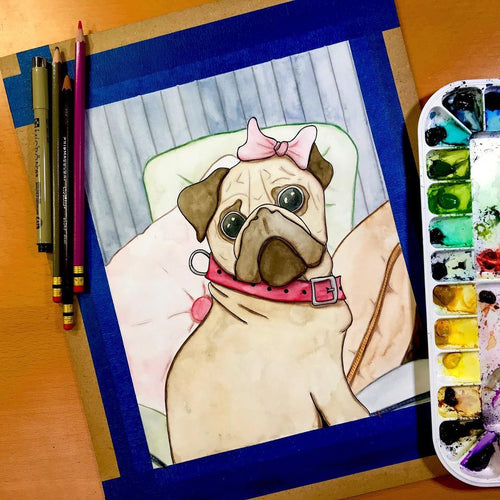 Princess Pug - Puppy Portrait Inspired Original Watercolor & Ink Illustration