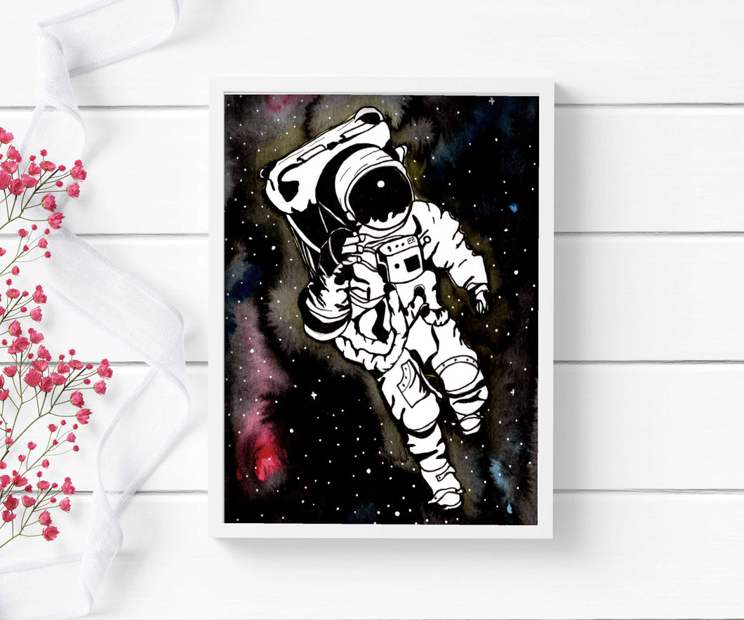 Q in Space - Astronaut Inspired Watercolor Painting - Art Print