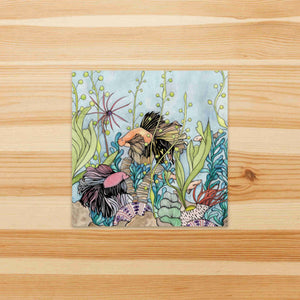 Quest of the Goldfish  - Undersea Inspired Watercolor Painting - Square Vinyl Sticker