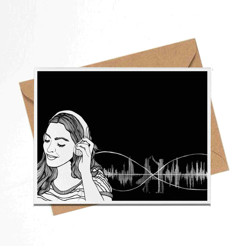 Radio, Inktober Day 4 - Handmade Notecard
