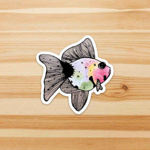 Rainbow Fish- Goldfish Inspired Watercolor - Die Cut Vinyl Sticker