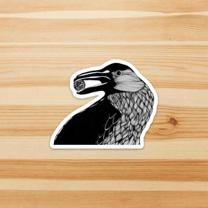 Raven - Bird Inspired Ink drawing - Die Cut Vinyl Sticker