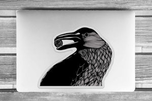 Raven - Bird Inspired Ink drawing - Giant Vinyl Die Cut Sticker