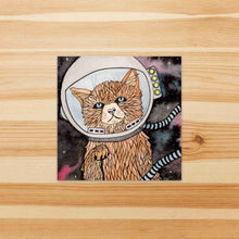 Load image into Gallery viewer, Space Kitty - Pet Inspired Watercolor Painting - Square Vinyl Sticker