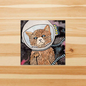 Space Kitty - Pet Inspired Watercolor Painting - Square Vinyl Sticker