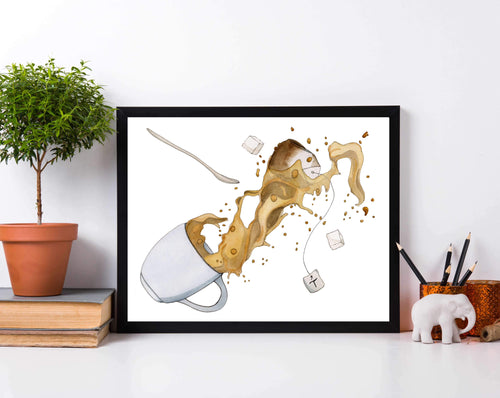 Spill the Tea - Mishap Inspired Watercolor Painting - Art Print
