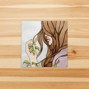 Split Ends - Fantasy Inspired Watercolor Painting - Square Vinyl Sticker