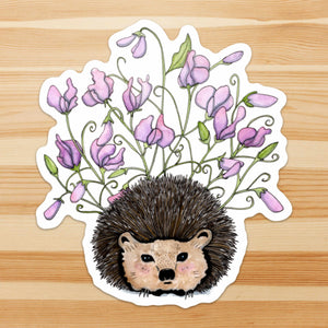 Sweet Pea - Hedgehog Inspired Watercolor - Giant Vinyl Die Cut Sticker