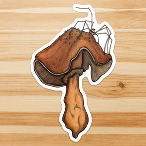 Uninvited Guest - Mushroom Inspired Ink drawing - Giant Vinyl Die Cut Sticker