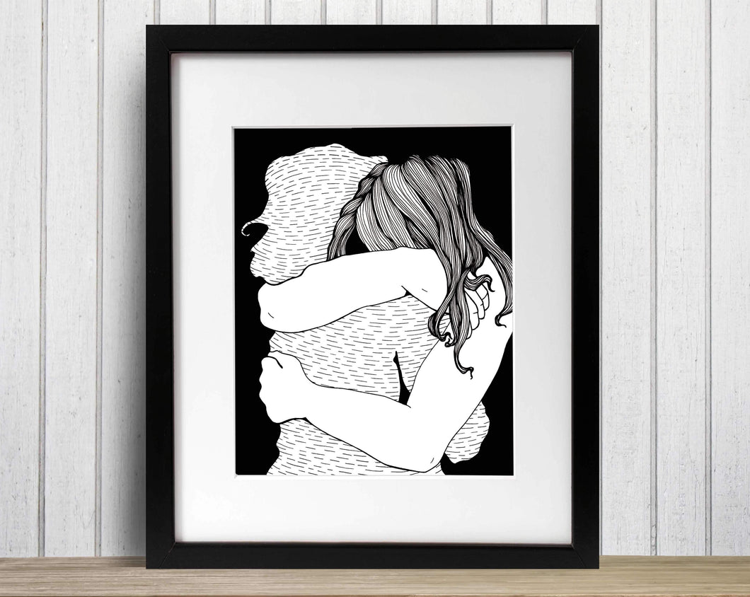 Virtual Hug - Friendship Inspired Illustration - Art Print