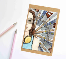 Load image into Gallery viewer, Wood Shop, Strong Woman Inspired Notebook / Sketchbook / Journal
