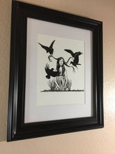 Load image into Gallery viewer, Summon Raven - Storybook Inspired Ink Drawing - Art Print