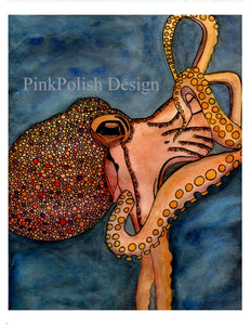 Tentacles - Octopus Watercolor Painting - Art Print
