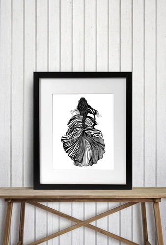 Feathered Fish Redux Original Ink Drawing - Art Print