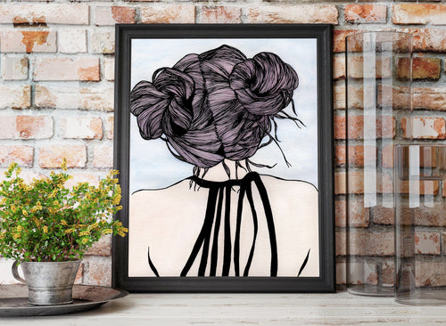 Nice Buns - Hair Style Inspired Watercolor Painting - Art Print