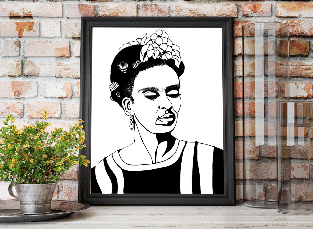 Frida - Artist Portrait Ink Drawing - Art Print