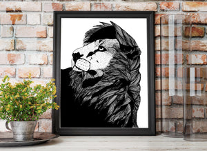 Lion Pride - Animal Ink Drawing - Art Print