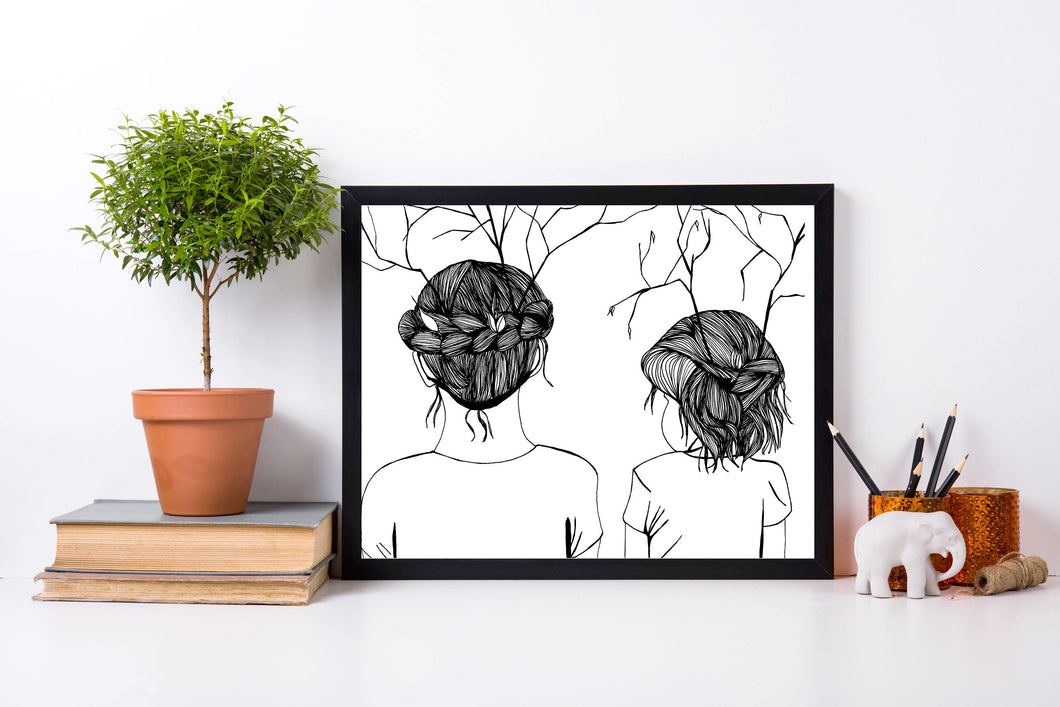 Autumn Sisters - Original Ink Drawing - Art Print