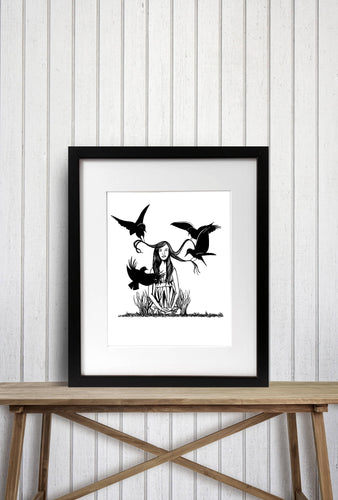Summon Raven - Storybook Inspired Ink Drawing - Art Print