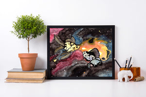 Galaxy Fish - Celestial Inspired Watercolor Painting - Art Print