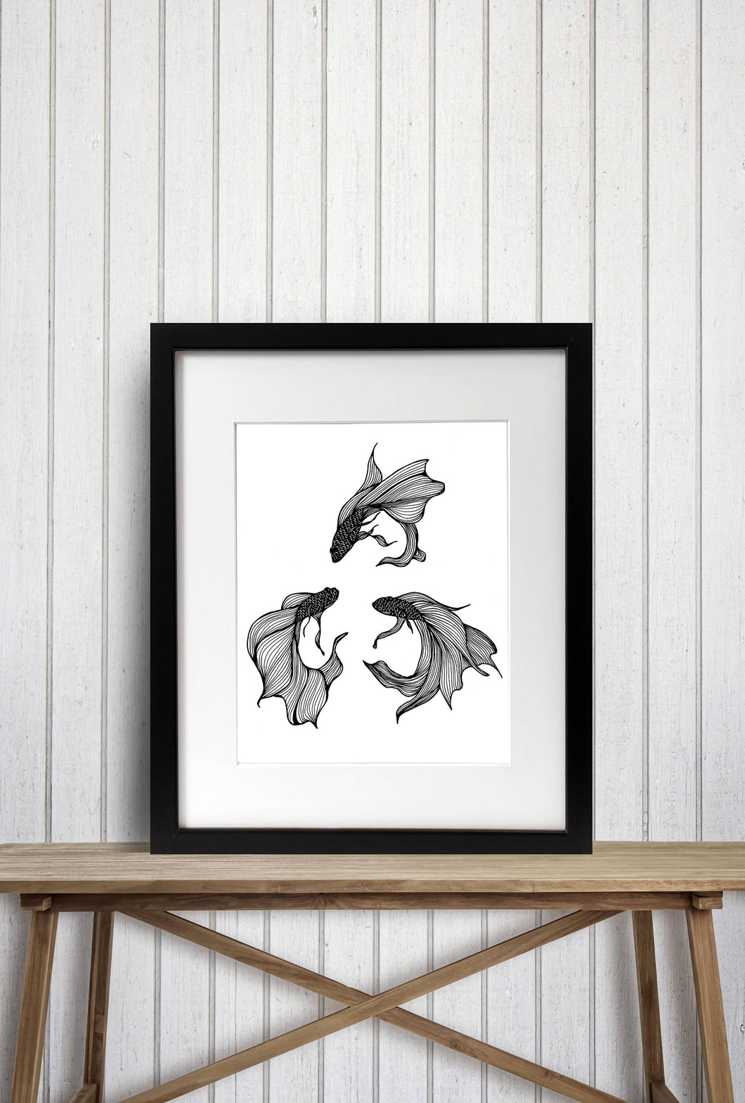 Betta Triquetra - Magic Inspired Ink Drawing - Art Print