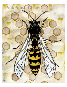 Avispa Wasp - Insect Inspired Watercolor Painting - Art Print