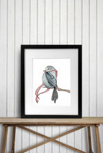 Load image into Gallery viewer, Cozy Bird - Woodland Creature Watercolor Painting - Art Print