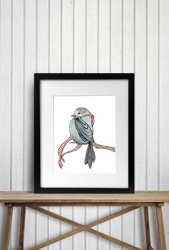 Cozy Bird - Woodland Creature Watercolor Painting - Art Print