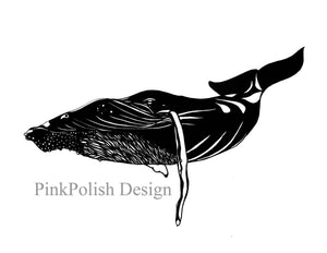 Humpback Whale - Nautical Ink Drawing - Art Print