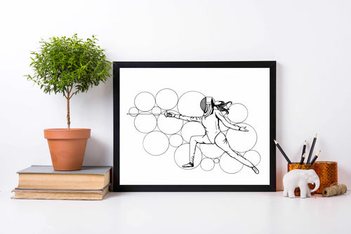 Fight Like a Girl - Sword Play Ink Drawing - Art Print
