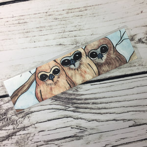 Owl Huddle, 2-Sided Bookmark - Nature Inspired Watercolor Painting Art Print