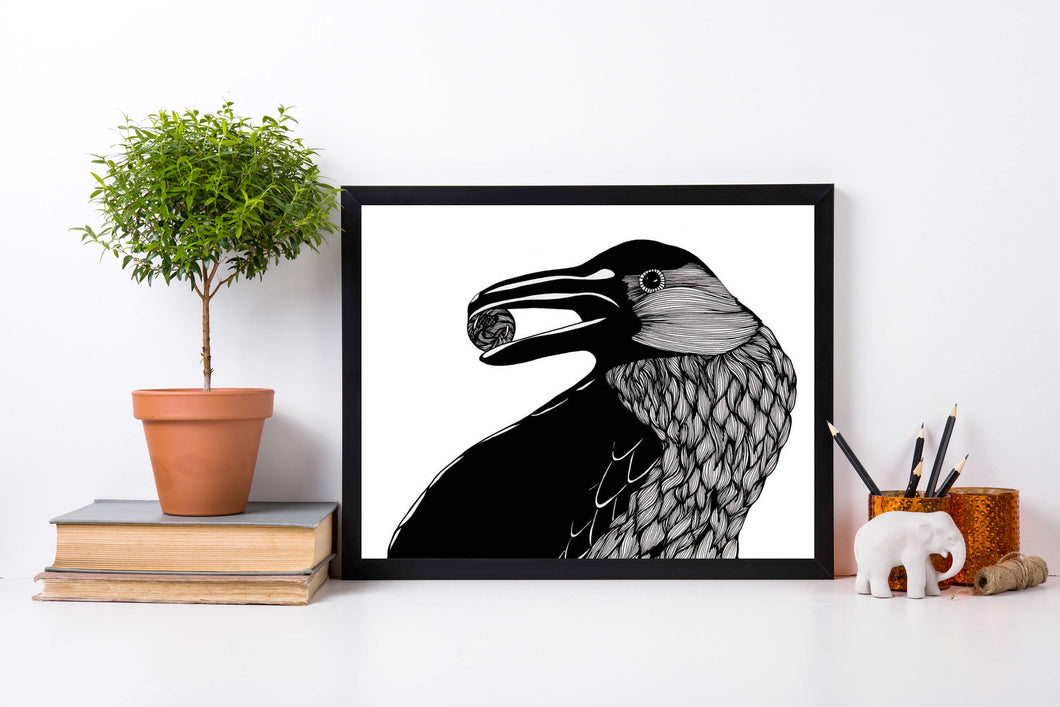 Raven - Magic Inspired Ink Drawing - Art Print