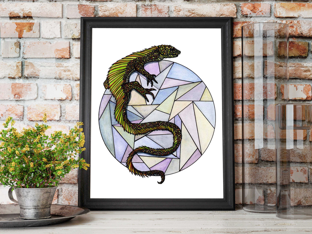 Lizard Sphere - Nature Inspired Watercolor Painting - Art Print