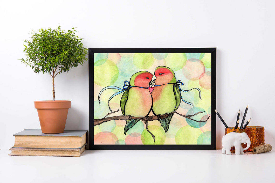 Love Birds - Relationship Inspired Watercolor Painting - Art Print