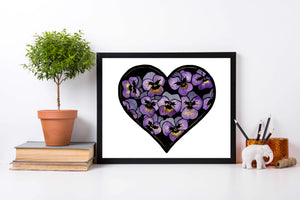 Pansy Valentine - Floral Inspired Watercolor Painting - Art Print