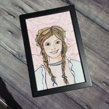 Load image into Gallery viewer, Anne Shirley - Green Gables Inspired Artwork - Framed Original Watercolor & Ink Illustration