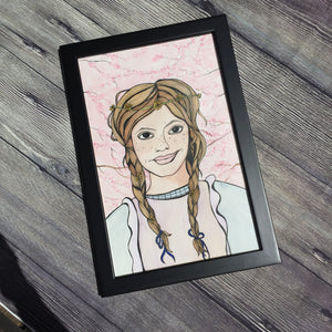 Anne Shirley - Green Gables Inspired Artwork - Framed Original Watercolor & Ink Illustration