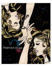 Load image into Gallery viewer, Gemini Twins - Astrology Inspired Watercolor Painting - Art Print