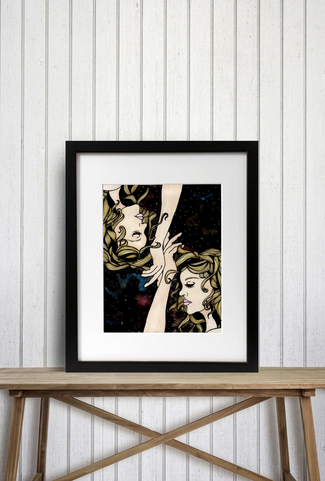 Gemini Twins - Astrology Inspired Watercolor Painting - Art Print