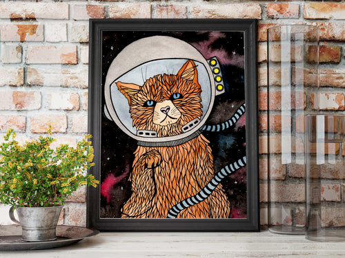Space Kitty - Fantasy Inspired Watercolor Painting - Art Print