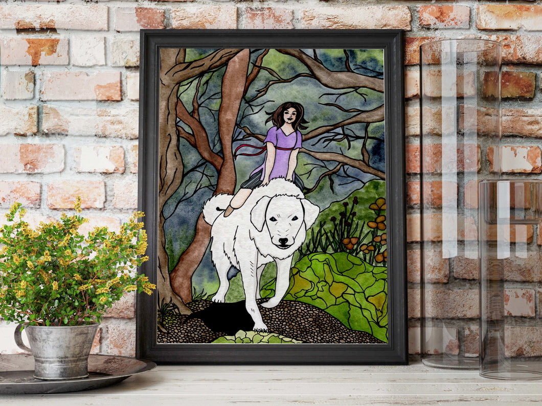 Phoebe & the Akbash - Friendship Inspired Watercolor Painting - Art Print