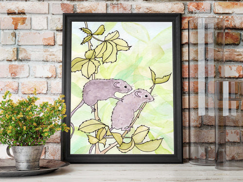Field Mouse Friendship - Nature Inspired Watercolor Painting - Art Print