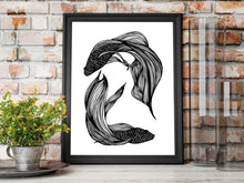 Load image into Gallery viewer, Betta Orbit - Fish Inspired Ink Drawing - Art Print