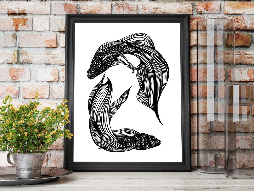 Betta Orbit - Fish Inspired Ink Drawing - Art Print