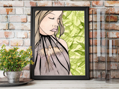 Caged - Mental Health Inspired Watercolor Painting - Art Print