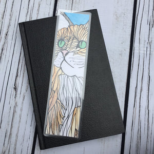 Green Eyed Cat, 2-Sided Bookmark - Mischief Inspired  Watercolor Painting Art Print
