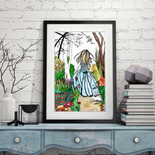 "Load image into Gallery viewer, Alice - Lewis Carroll's Wonderland Inspired Watercolor Painting - 11""x17""Art Print"