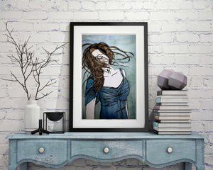 "Twirl - Freedom Inspired Portrait Watercolor Painting - 11""x17"" Art Print"